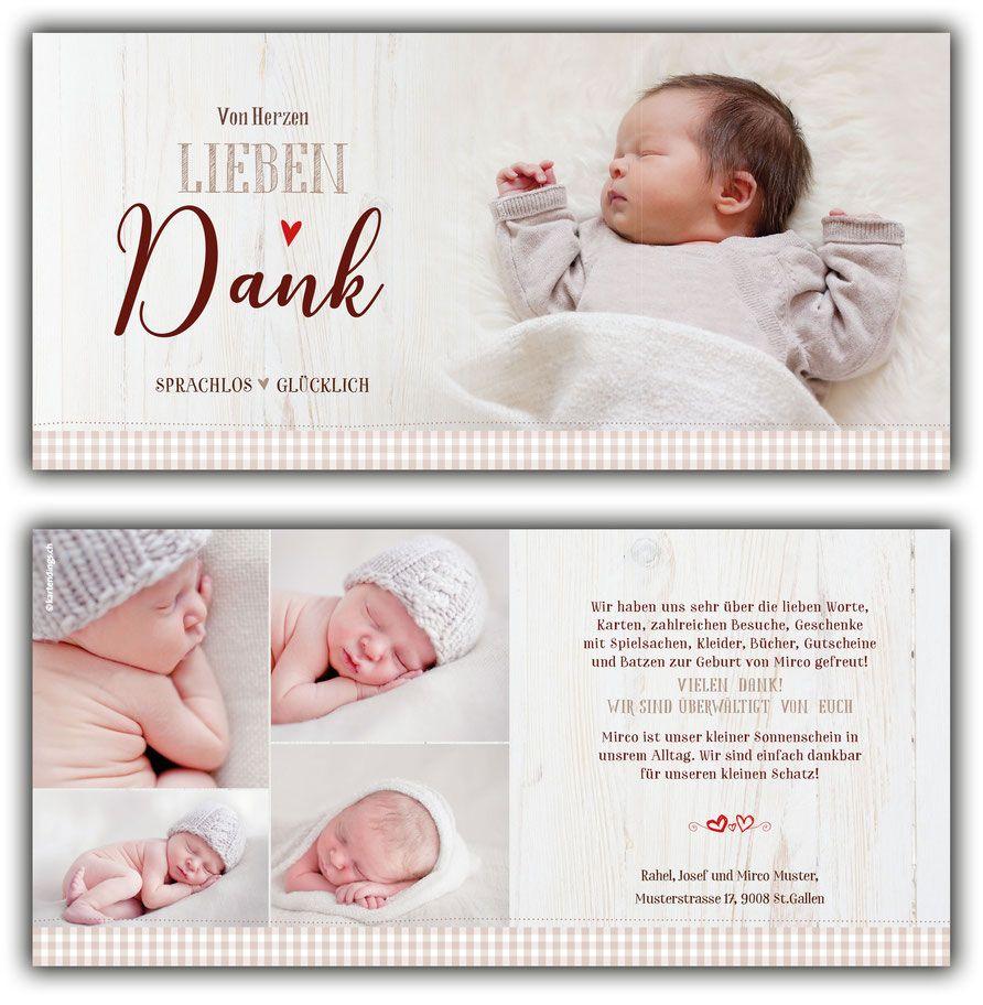 Dankeskarte Geburt kartendings.ch   Baby dankeskarten ...