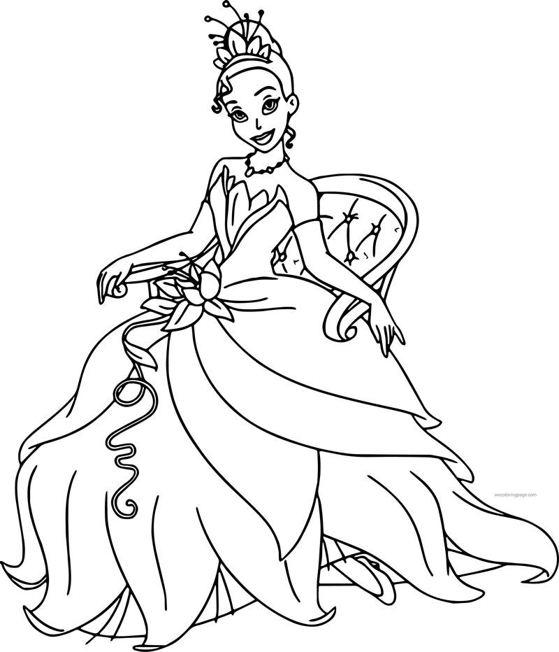 Disney The Princess And The Frog Staying Tiana Coloring Page Em