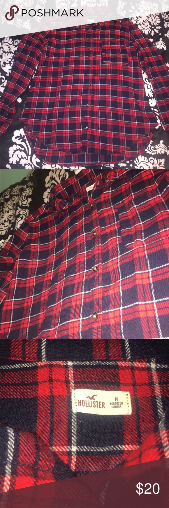 Hollister Flannel (M) Size Medium! Worn only twice. This is the most comfortable flannel EVER! It's so cozy and I love it, but I don't really wear it anymore. It's a combination of red, white, & navy. Hollister Tops Button Down Shirts