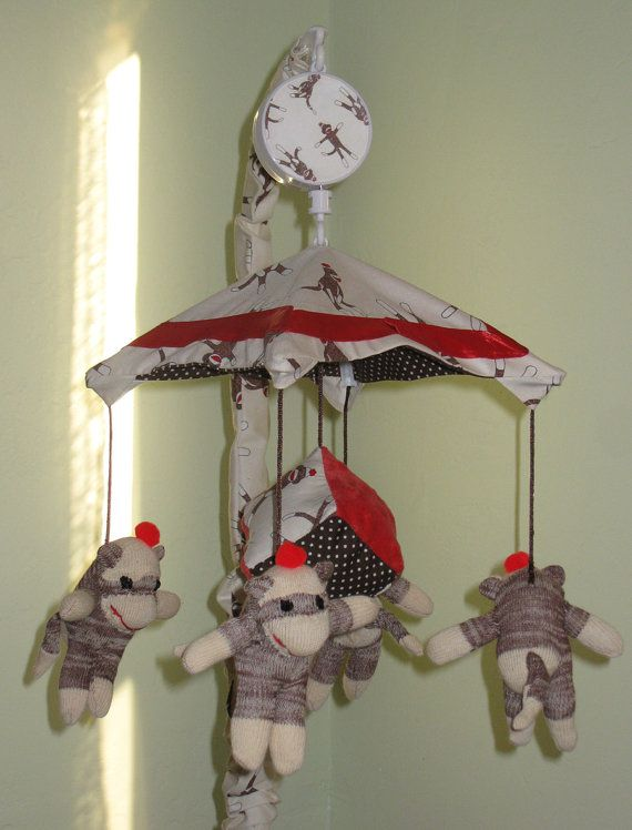 Sock Monkey Baby Crib Mobile By Snowflakecrafts On Etsy Baby Ideas