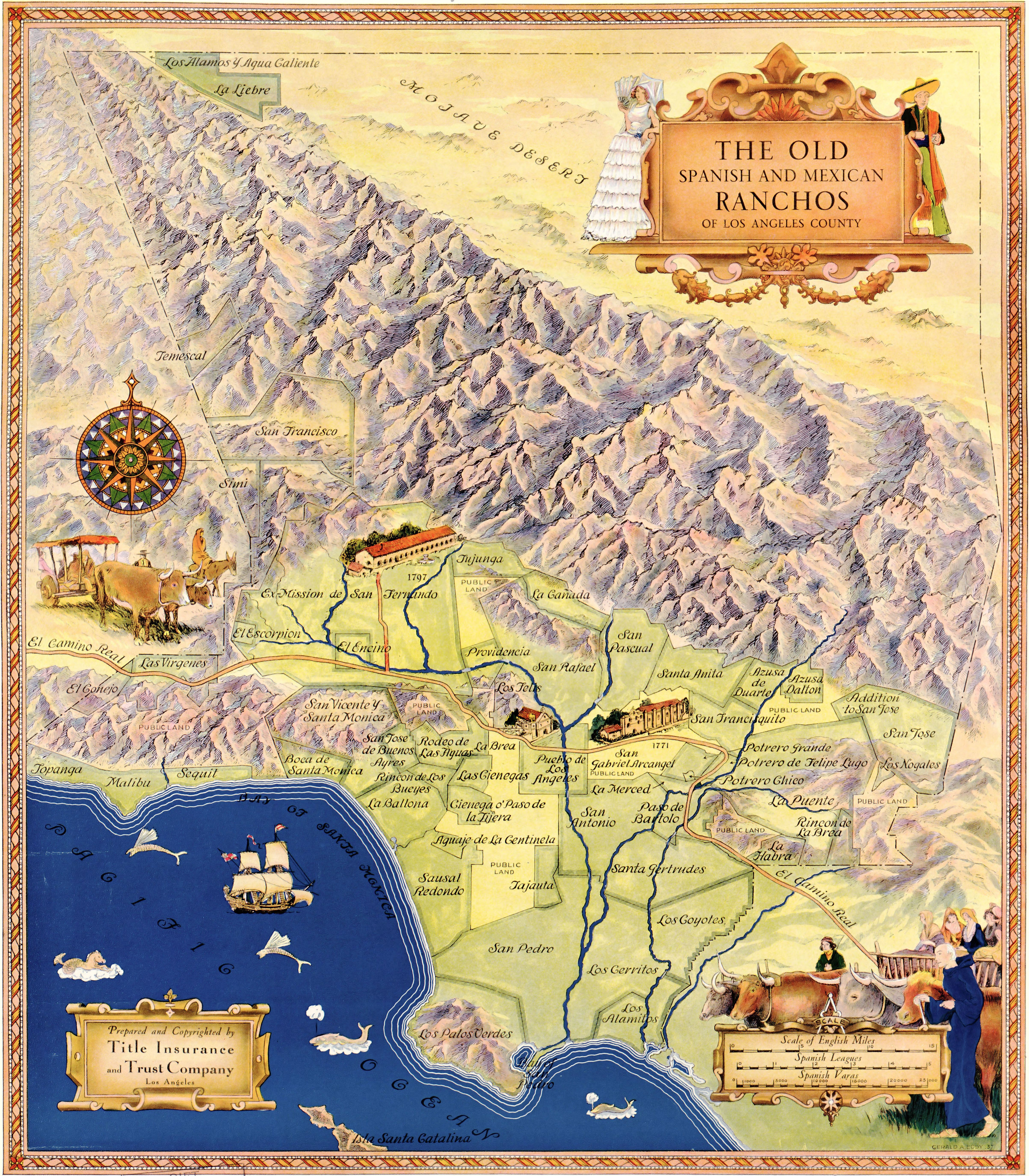 1930s Old Spanish Ranchos Map Of Los Angeles 24x28 Panoramic Map Historical Maps Modern Map