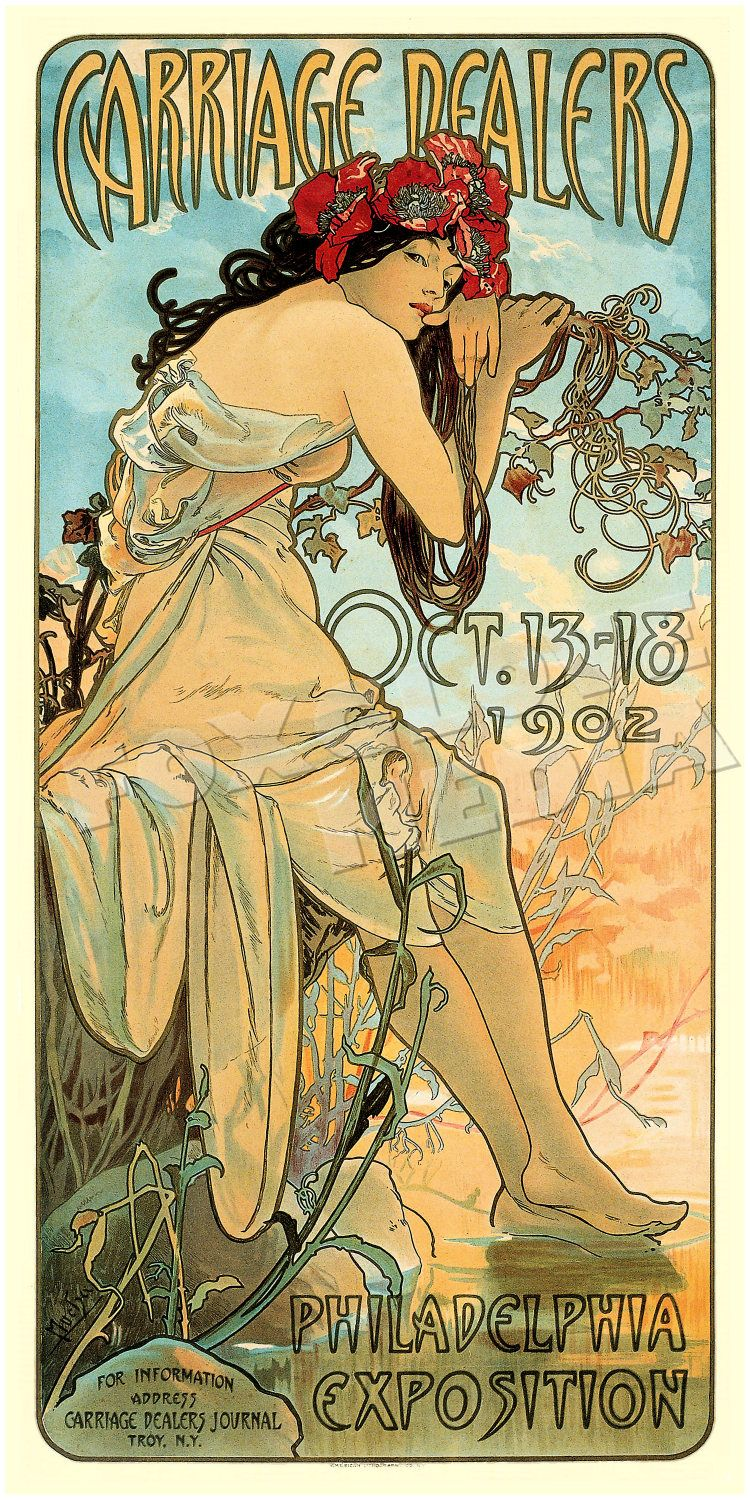 Alphonse Mucha Advertising Poster Print 1902 Carriage Dealers