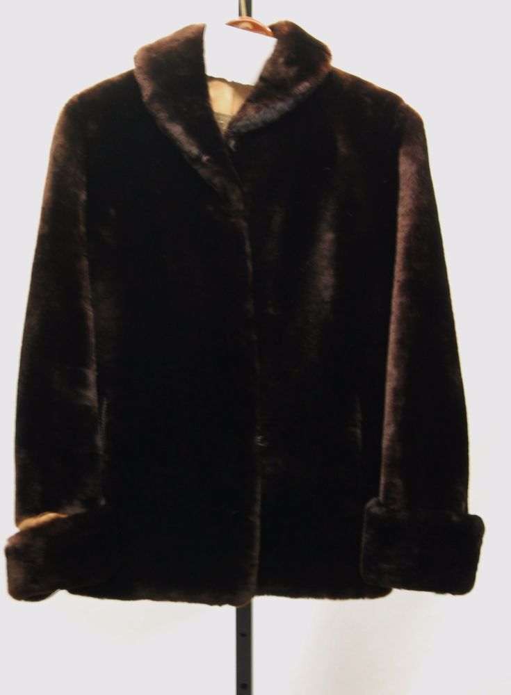 VINTAGE SIEGEL'S FURRIERS 50'S Dark Brown Mouton Lamb Coat Jacket Sz M V60066 #SiegelsFurrier #Cocktail