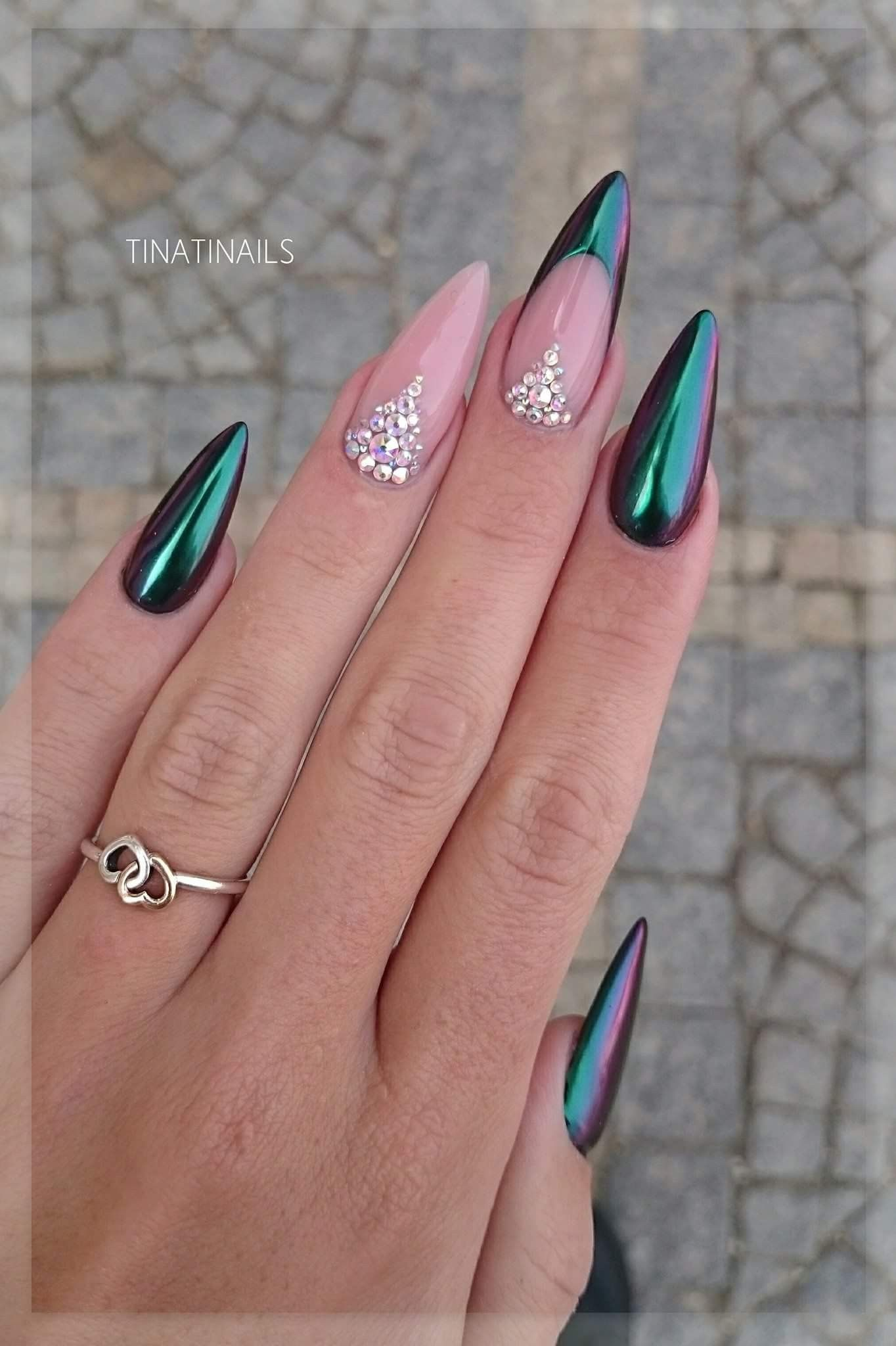 Powder pink nails pictures photos and images for facebook tumblr - Nails Green Oil Slick Manicure Nails Glitter Gems