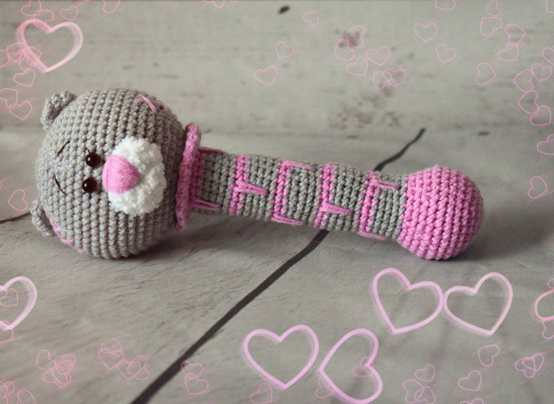 Oso de peluche sonajero ganchillo - patrón libre | Crochet ...