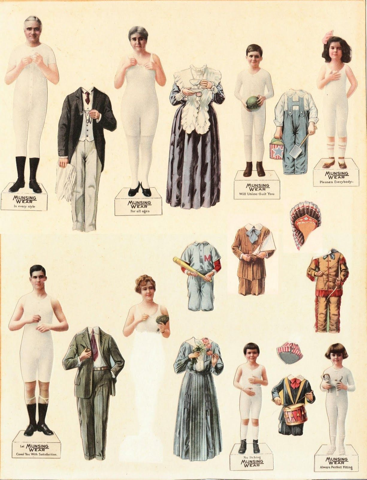 graphic about Printable Vintage Paper Dolls known as The Paper Collector: Munsingwear paper dolls, c 1920 paper