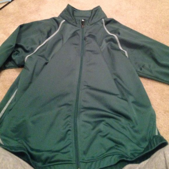 Green zip up jacket polyester Never worn Jackets & Coats