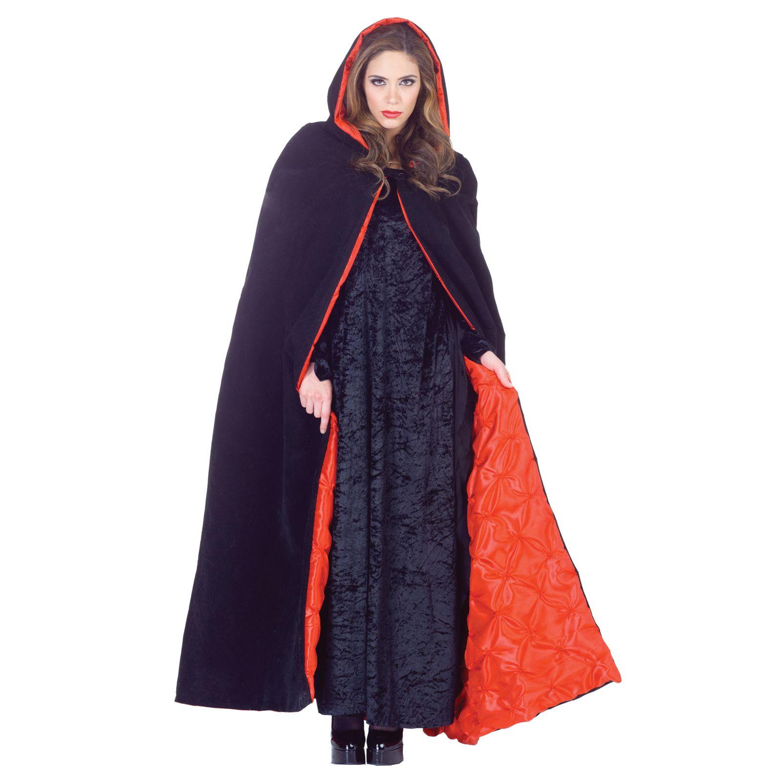 PURPLE CAPE BLACK RED VELVET HOODED CLOAK ROBE KING QUEEN RENAISSANCE COSTUME