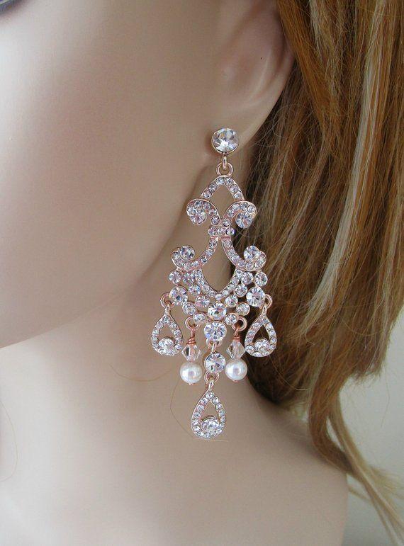 Bridal Earrings Long Chandelier Earrings Rose Gold Earrings