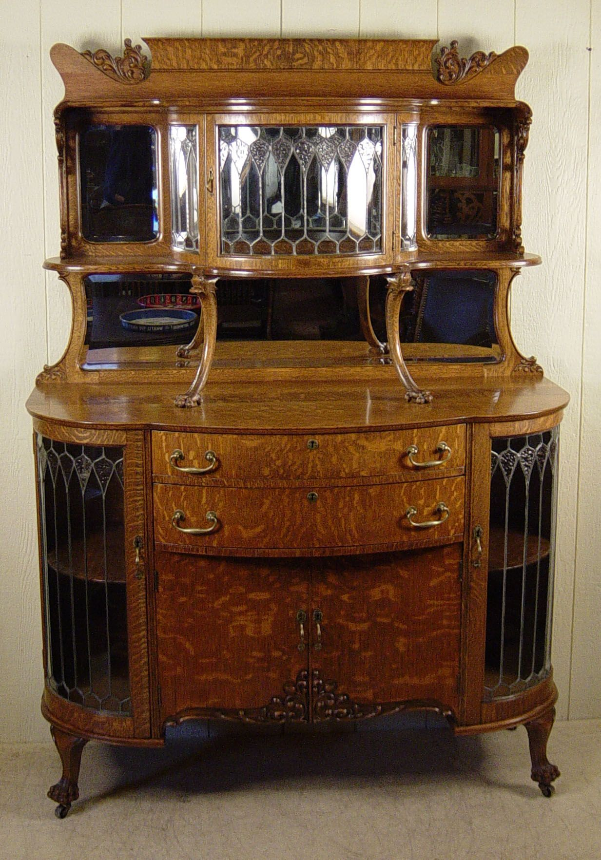 Exceptional Oak Curio Buffet With Curved Leaded Glass Painted Furniture Designs Sideboard Furniture Antique Furniture