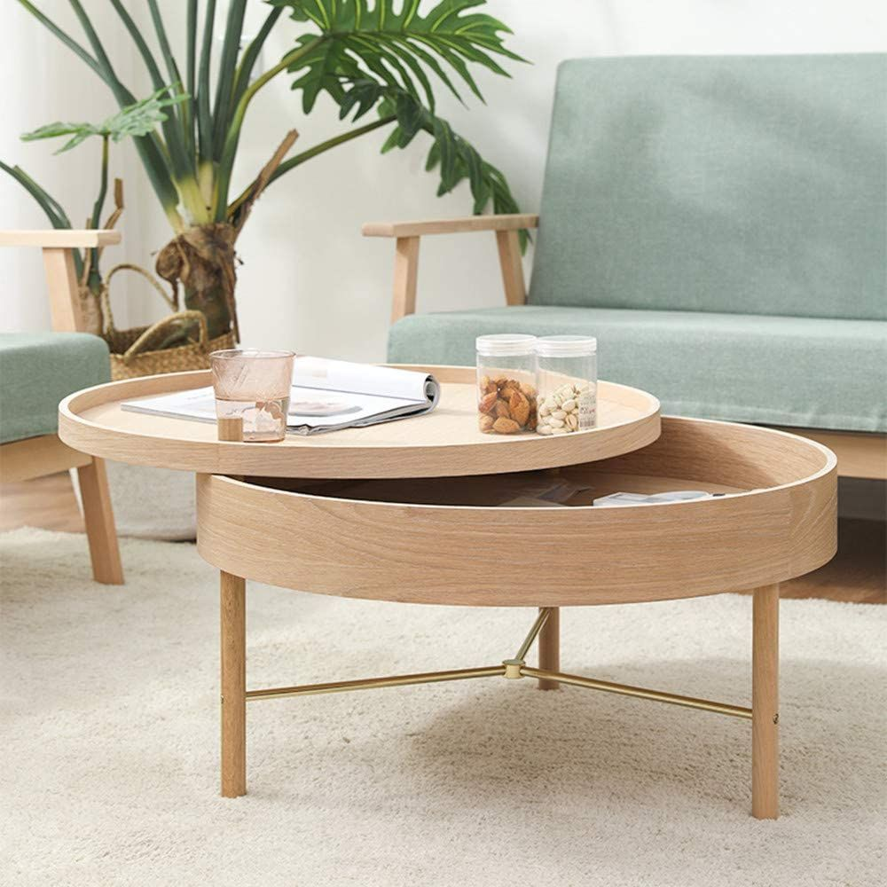 Jy round storage coffee table solid wood round screwon