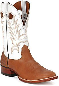 5c6015ad244 Larry Mahan® Men's Brown Cowhide w/ White Tops Wide Square Toe ...