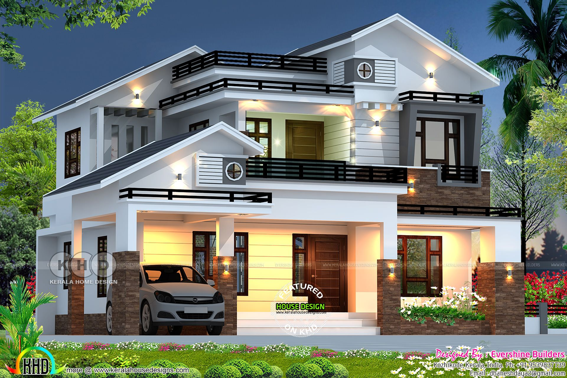 2689 sq ft mixed roof house rendering kerala house