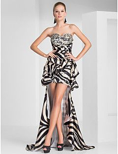 Prom / Formal Evening Dress - High Low Sheath / Column Strapless / Sweetheart Short / Mini / Asymmetrical Polyester withBeading / Crystal