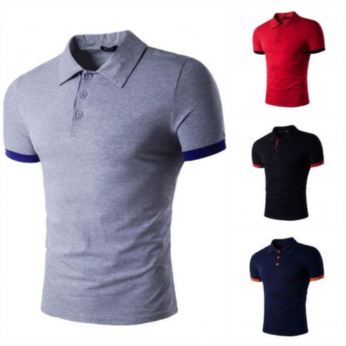 Stylish Luxury Slim Short Sleeve Men/'s T-shirts Casual POLO Shirt New Fashion