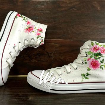 7289934ad209 WEN Original Design Floral Converse Wedding Flowers Shoes Hand Painted  Shoes