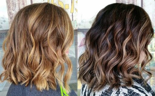 Balayage Dark Hair Carmel Beach Waves Lob Long Bob Short