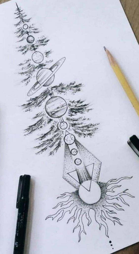 Tattoos with nature and planets - #Nature #planets #tattoo #Tattoos - art #tattoosandbodyart
