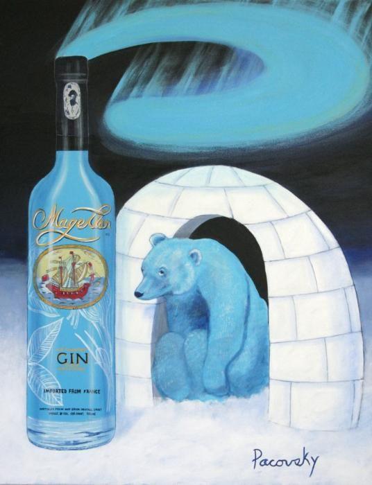 Magellan Gin Polar Bear Igloo Painting by John Pacovsky