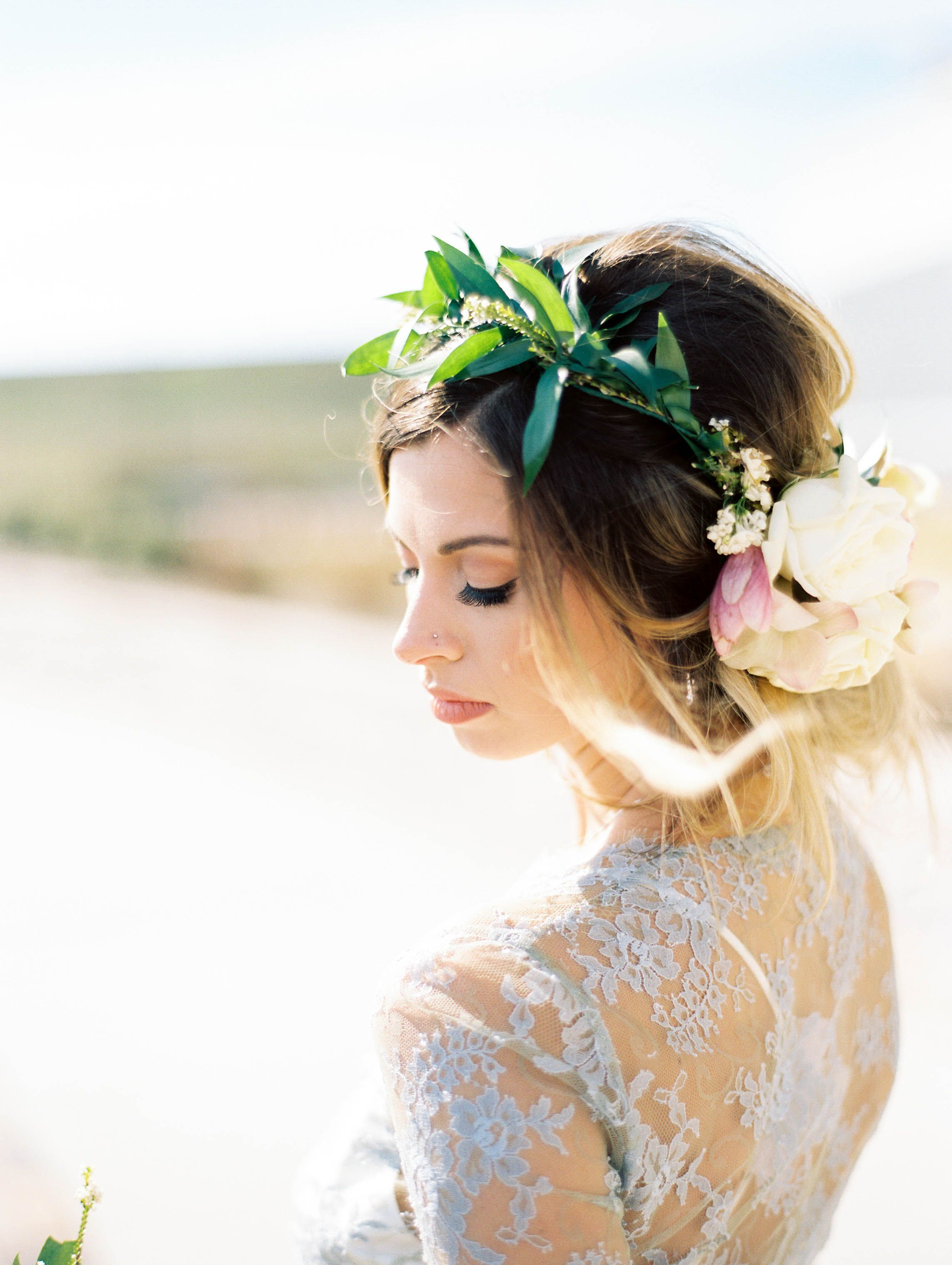 bridal hair and makeup, flower crown, bride, style, ideas