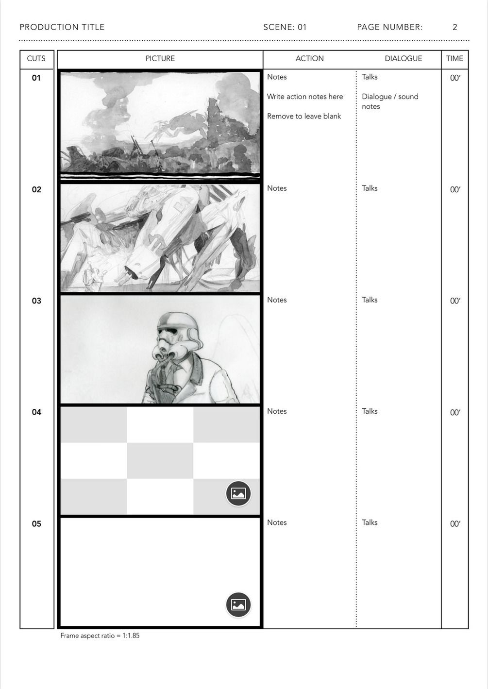 Anime Storyboard Template For Le Pages Ready To Use Five Widescreen Frames 1 85 On Din A4 Vertical Portrait Page You Can Edit This File