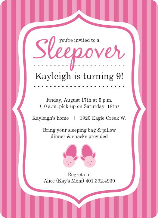 Pretty In Pink Bunny Slippers Slumber Party Invite by PurpleTrail