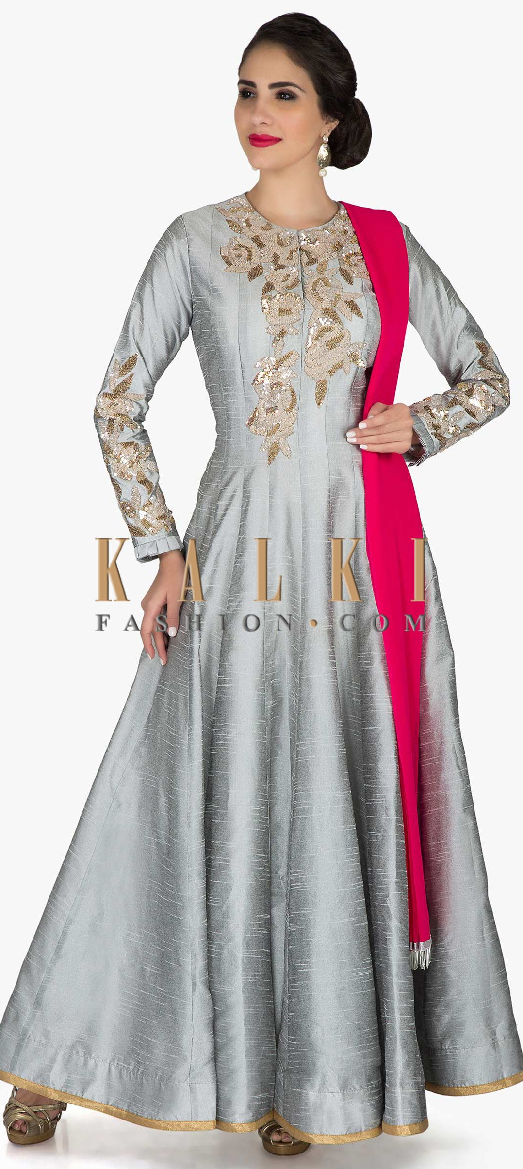 Grey anarkali suit in cotton silk with gold and silver sequin