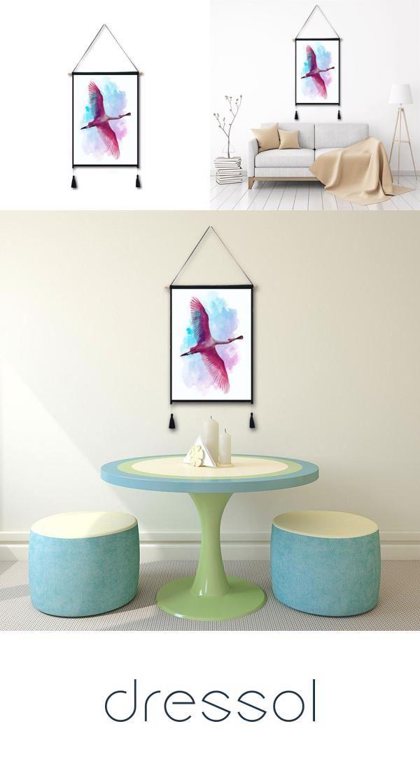 Flying Flamingo Tassel Hanging Painting Wall Decor Print