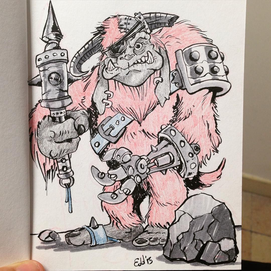 The weekend we were watching The Labyrinth movie. So this is my concept for an old and wicked Ludo: goblin exterminator. 30 years after the classic movie. #labyrinth #sketchbook #conceptart #ludo #ink #jimhenson #goblins #sketch #instaart #disney #muppets