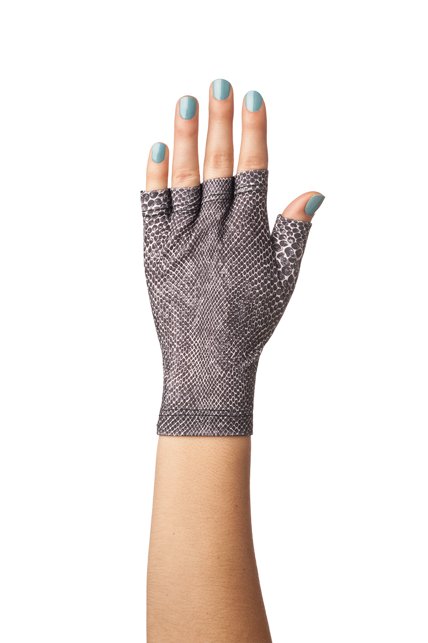 Fingerless gloves for sun protection - Gloves Snake Print With Solfingers Sea Nail Polish Sun