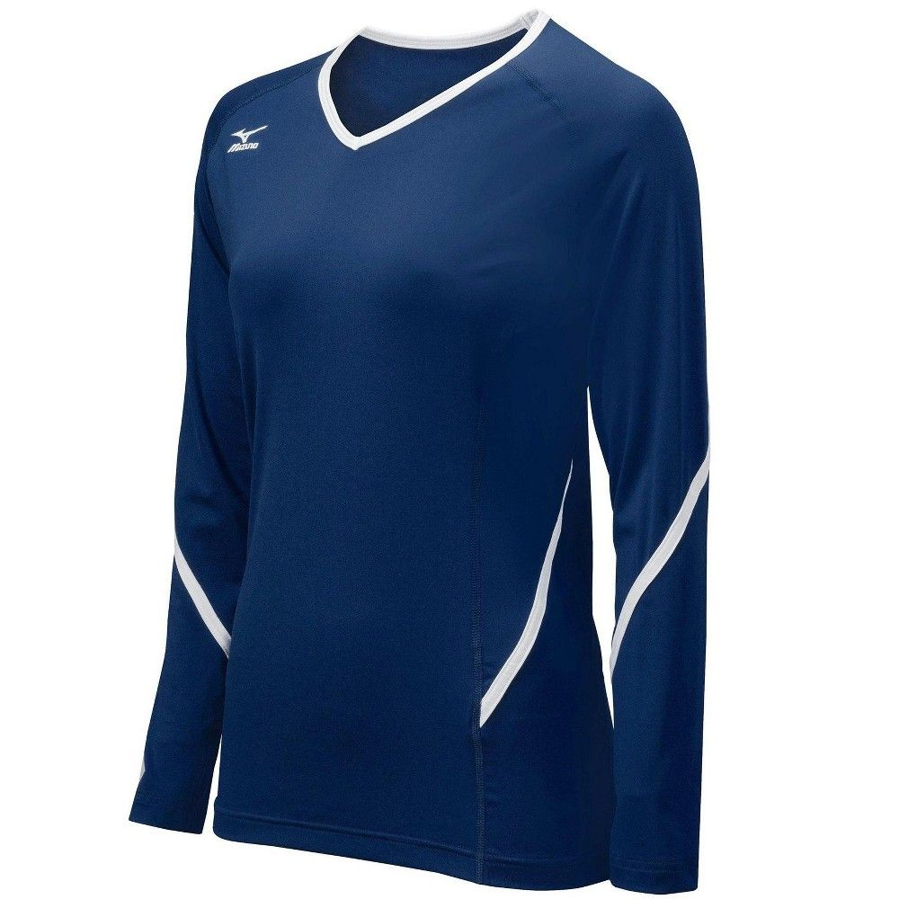 Mizuno Womens Volleyball Apparel Techno Generation Long Sleeve Jersey 440399 Size Extra Large N White Long Sleeve Top Volleyball Jerseys Volleyball Outfits