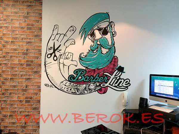 Graffiti Decorativo Interior De Barberia Barberline Barcelona  Mural Infantil Mural Painting Murals