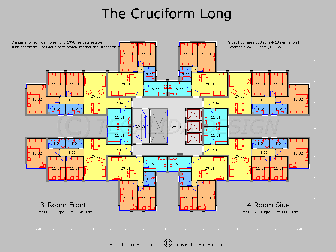 The Cruciform Floor Plan Great Pin For Oahu Architectural Design Visit Http Ownerbuiltdesign Com Apartment Plans Architecture Plan Apartment Architecture