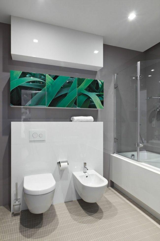Modernes Badezimmer Weiße Möbel Graue Wände Dekor Pflanzen Foto