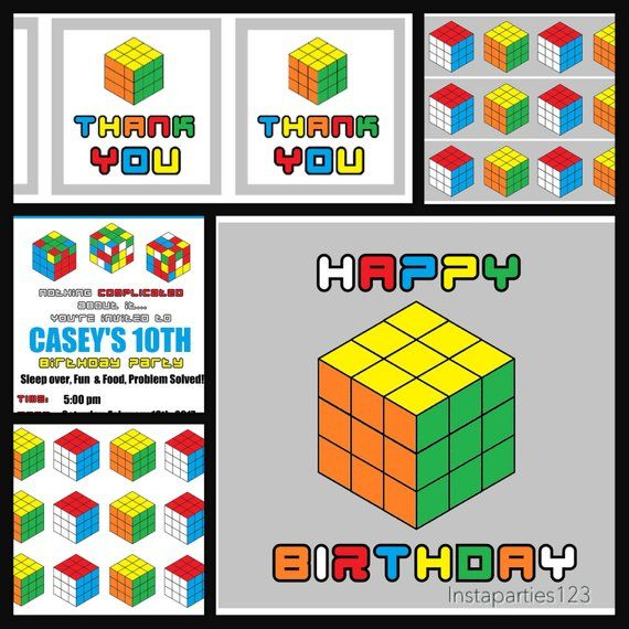 165dc8912292 DIGITAL Rubiks Cube Complete Party Instant Download Editable ...