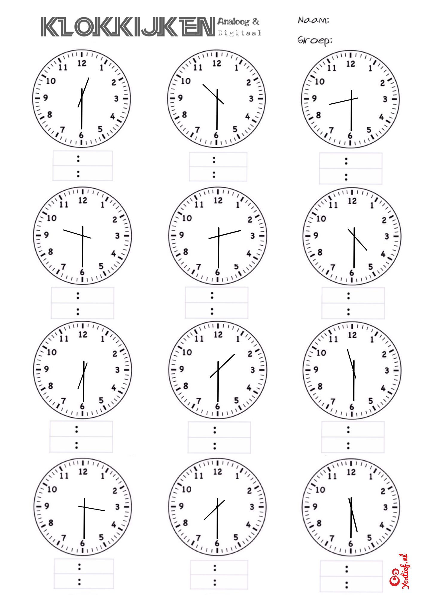 Klokkijken, analoog en digitaal. Werkblad halve uren ...