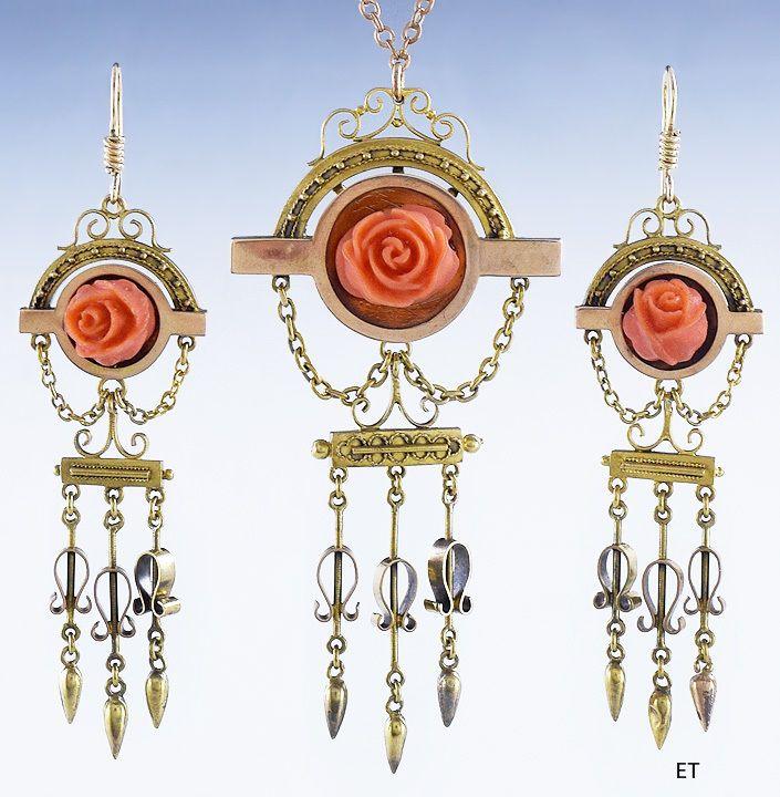 Encantador estilo victoriano de Oro de 14k & Tallados Coral Rose pendientes y conjunto de collar Juego parcial