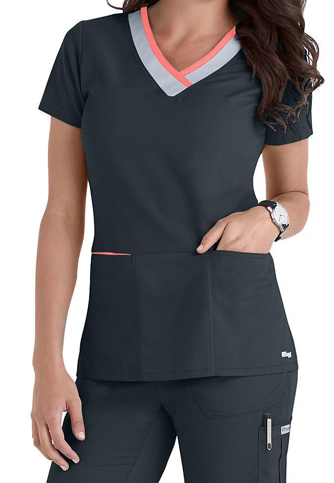 f3bc6fc9236 Greys Anatomy color block contrast 3 pocket scrubs top. Main Image ...