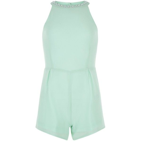 New Look Girls Mint Green Embellished Neck Playsuit (£9) via Polyvore featuring mint green