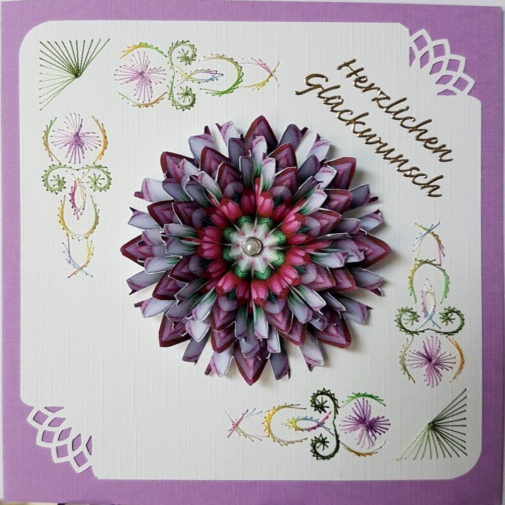 Grußkarten Set 141 Doppelkarte mit Umschlag 13,5 x 13,5 cm Motiv: Hobbyjoke / 3D-Blumen-Mandala: Joka´s Mandalahoek