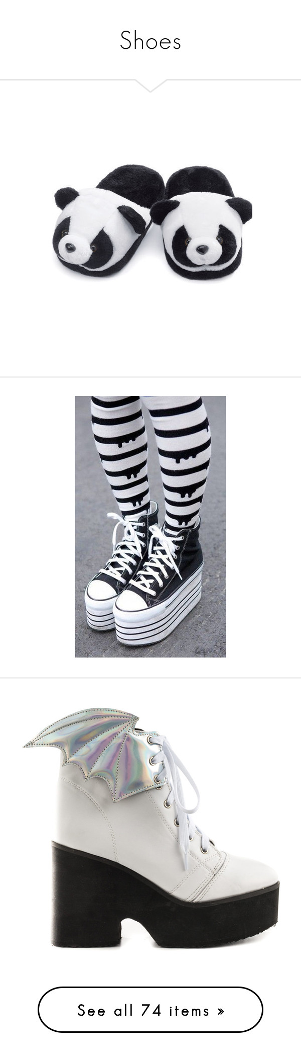"""""""Shoes"""" by pierce-the-sunflower ❤ liked on Polyvore featuring shoes, slippers, pijamas, panda, pants, leggings, legging pants, converse leggings, pastel goth pants and goth leggings"""