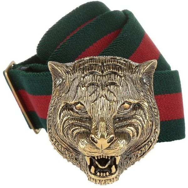 a7691cb18 Gucci Small Leather Goods - Tiger Head Buckle Elastic Belt Rosso/Verde.