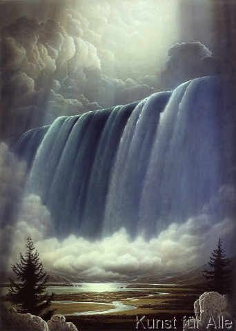 Sahm: Cloudburst. Art Print, Canvas on Stretcher, Framed Picture, Glass Print | Waterfall, Scenery, Scenery pictures