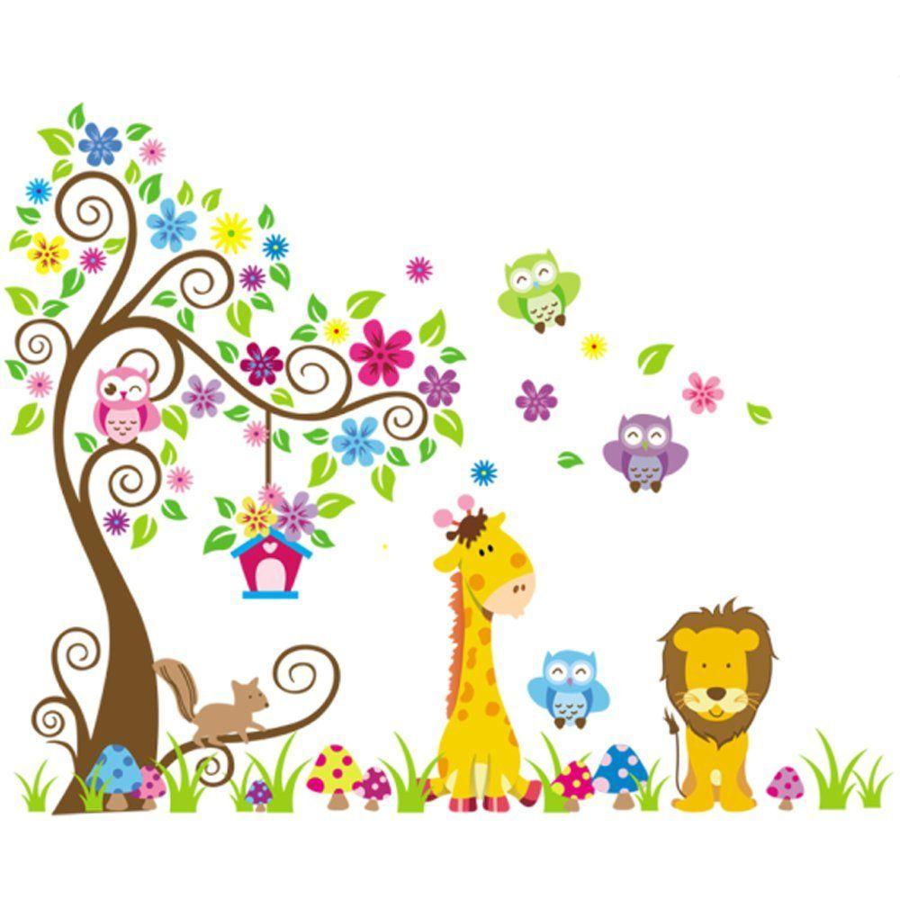 Wandtattoo Dschungel Wald Löwe Giraffe, Eichhörnchen Eule auf bunten ...