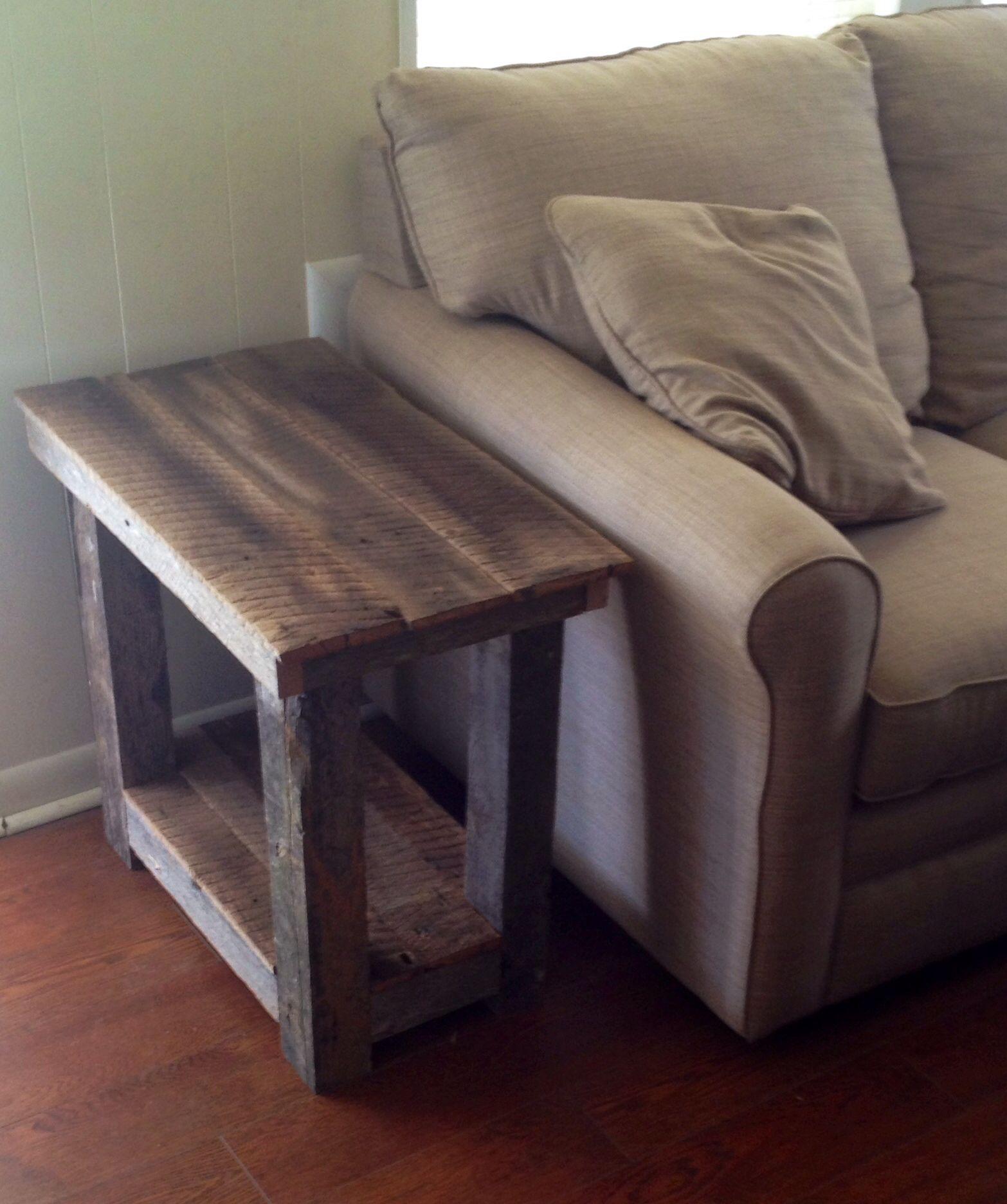 sofa side table wood patricia urquiola barn end i built from an old in my field