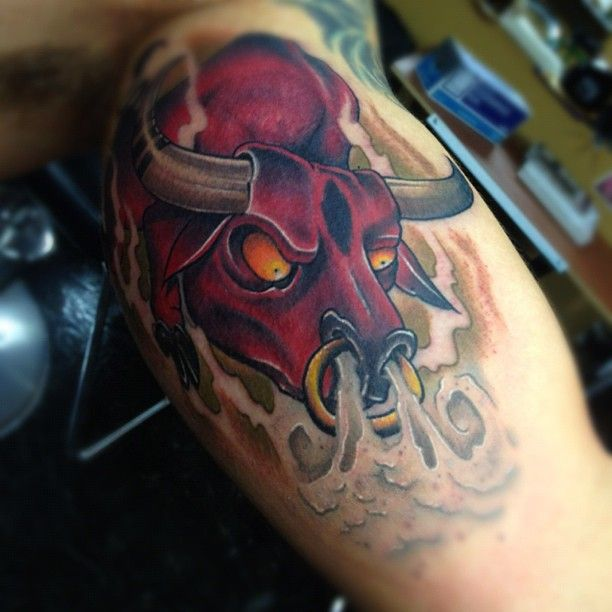 Taurus Tattoos Designs Ideas And Meaning: Angry Bull Tattoo Design Angry Bull Tattoo With Yellow