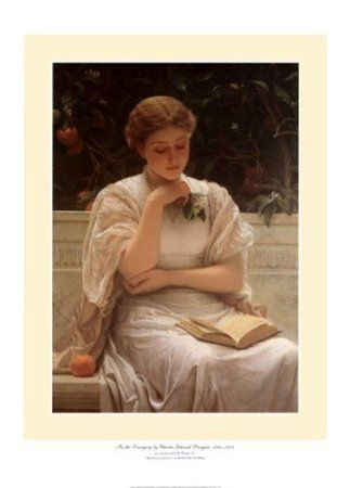 In the Orangery (or Girl Reading in the Orangery) by Charles Edward Perugini. I love this piece, and I have a gorgeous matted and framed print of it. For the record, this picture on the computer doesn't show the beauty of the actual work. I'd love to see the original. ~ Sheila