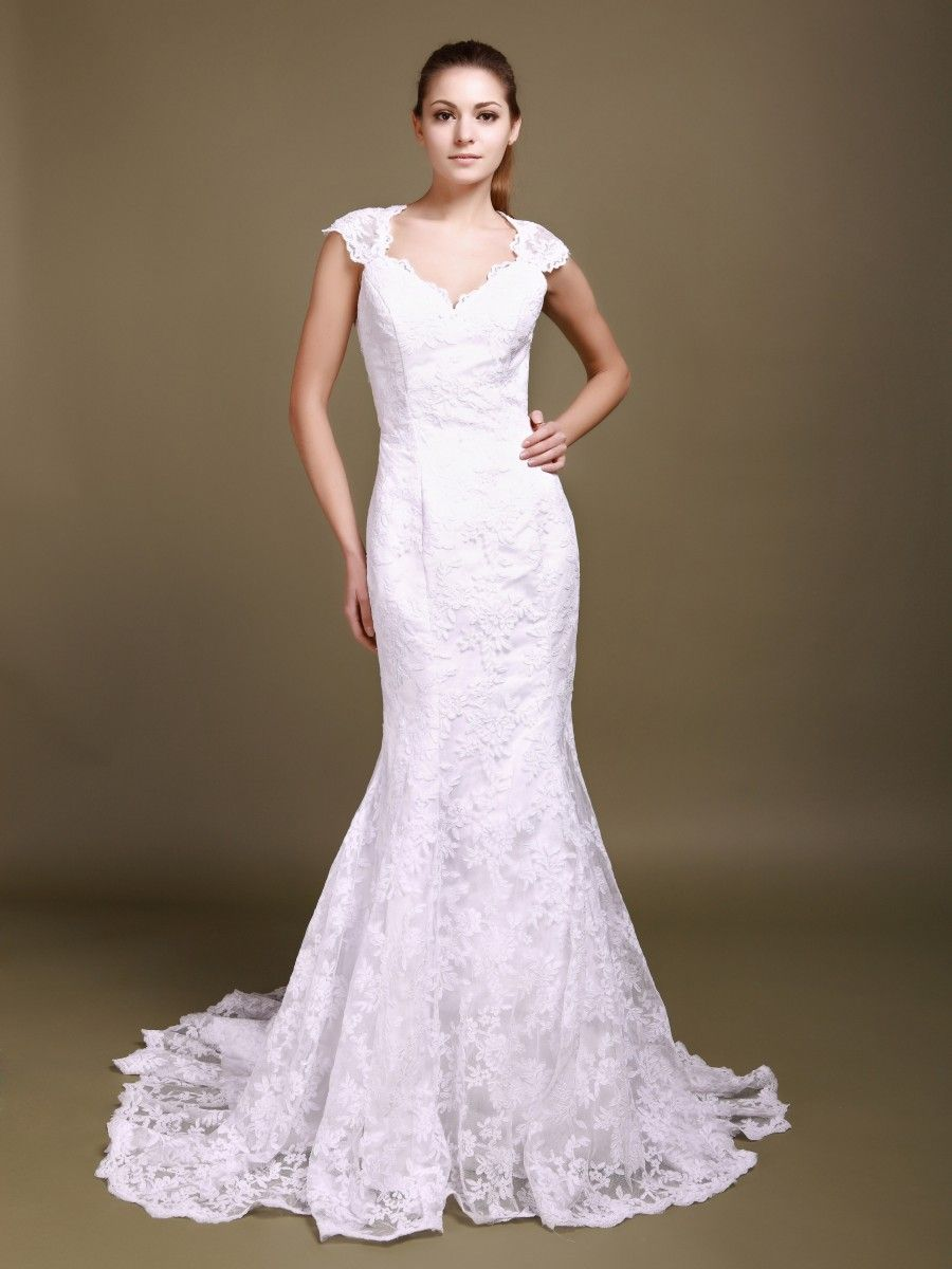 Cut out lace wedding dress  Scalloped Lace Cut Out Mermaid Wedding Dress  Wedding  Pinterest