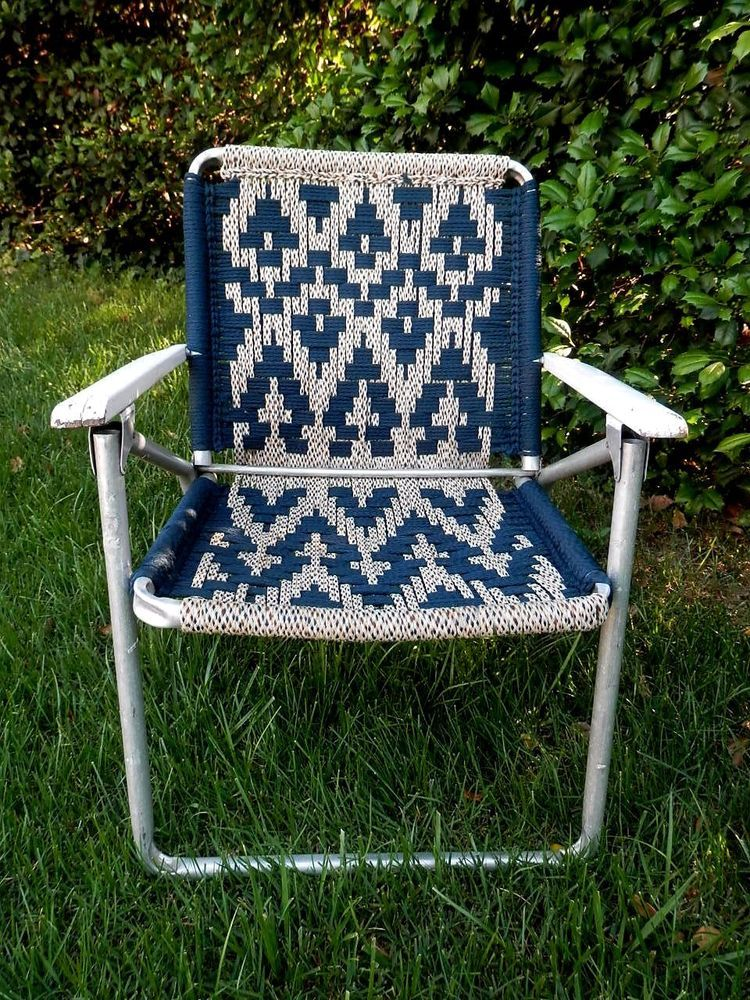 Vintage Aluminum Folding Lawn Patio Chair Macrame Webbing / Blue Navajo  Pattern