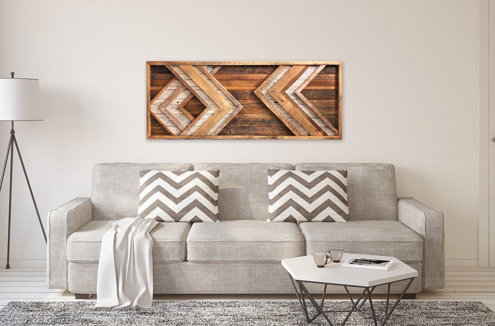 Large chevron arrow wood wall art in reclaimed wood home